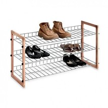 Metal Shoe Rack Closet Organizer 3 Tier Wooden Shelf Stackable Storage T... - $42.79