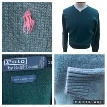 Polo Ralph Lauren 100% Lambswool Sweater Mens Size XL Long Sleeve V-Neck... - $48.50