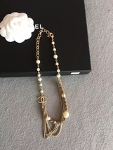 100% AUTHENTIC CHANEL CC LOGO MULTI CHAIN PEARL LONG NECKLACE GOLD LIMITED EDITI image 4