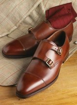 Handmade Men's Brown Double Monk Strap Leather Shoes image 1