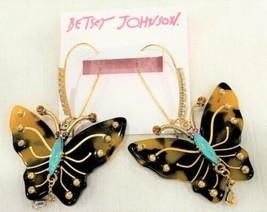 Betsey Johnson Tortoise Look Butterfly Drop Earrings NWT - $39.59
