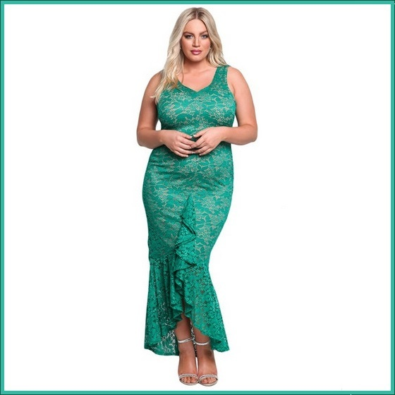Long Green Sleeveless Front Ruffled Floral Lace Trumpet Mermaid Party Gown