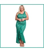 Long Green Sleeveless Front Ruffled Floral Lace Trumpet Mermaid Party Gown - $103.95