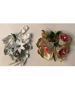 2 Vintage Corsages Christmas or Package Tie-On Silver Bells Leaf Pinecone - $19.79