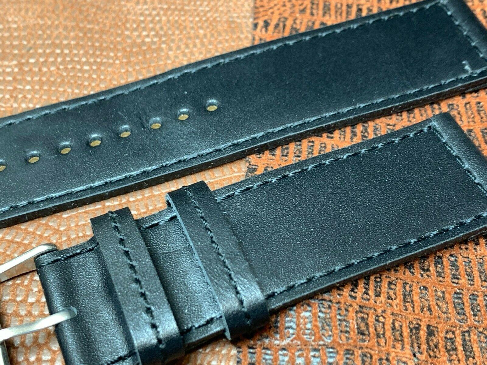 24mm Italian genuine leather watch band   Black Premium calf fit Panerai