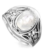 Moonstone Ring Solid Sterling Silver 925 Gemstone Birthstone Gift Boho S... - €14,79 EUR