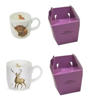 2 X BOXED WRENDALE OFFICIAL LICENSED HIGHLAND STAG & COW PORCELAIN MUGS ... - $23.81
