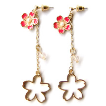 Pink Flower Gold Hollow Cut Out Long Chain Romantic Drop Dangle Earrings... - $8.99