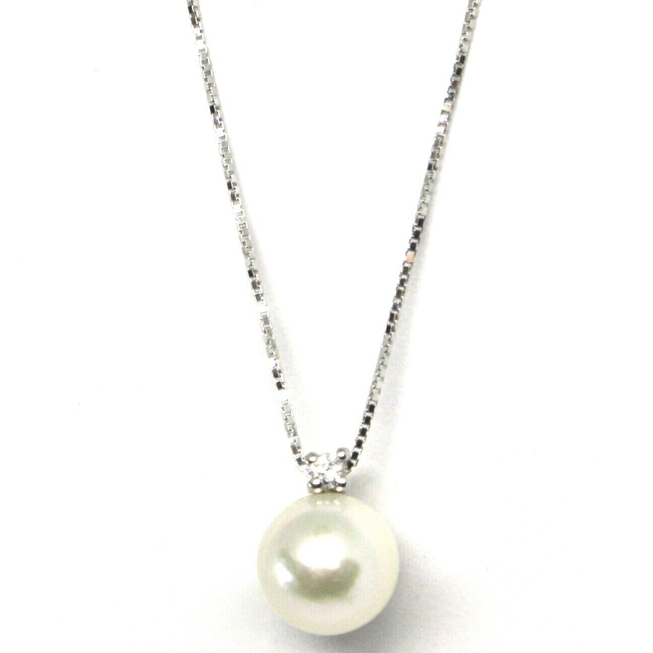 Necklace with Pendant White Gold 750 18K, Pearl Japanese Saltwater, Diamond