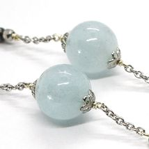 SILVER 925 NECKLACE, AQUAMARINE SPHERES, PIRITE FACETED, CHAIN ROLO' image 3