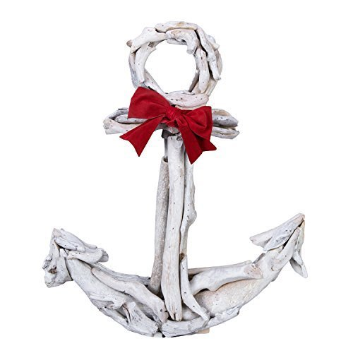 Beachcombers - Driftwood Anchor w/Red Bow