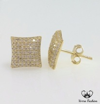 Square Shape Stud Earrings 18k Yellow Gold Plated 925 Silver Round Cut D... - £73.82 GBP