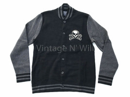 Abercrombie Fitch Mens L Black/ Gray Skull Stripe Contrast Bomber Sweate... - $99.75