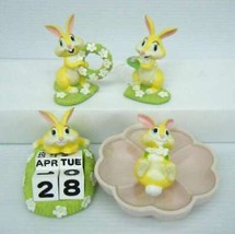 Gift Miss Bunny Ring Holder Earring Perpetual calendar Accessory case set tray - $86.13