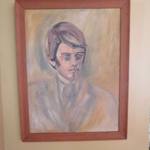 "Vtg Mid-Century  ""Young Man"" Oil Portrait Painting signed 1971 - $64.35"