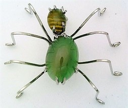 Green Agate Spider Stainless Steel Wire Wrap Brooch 12 - $28.00