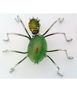 Green Agate Spider Stainless Steel Wire Wrap Brooch 12 - $28.97