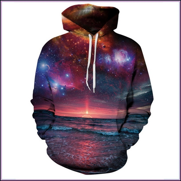 Sunset Beach Red Painted Universe Long Sleeve Cotton Pullover Hoodie Sweatshirt