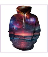 Sunset Beach Red Painted Universe Long Sleeve Cotton Pullover Hoodie Swe... - $82.95
