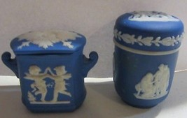 Vintage wedgwood / jasperware trinket boxes - blue - $76.00
