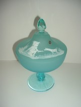 Westmoreland Glass Blue Compote with Handpainted Mary Gregory Lid - $39.99