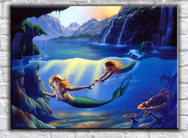 Mermaid Art oil painting printed on canvas home decor Mother & Child - $19.99