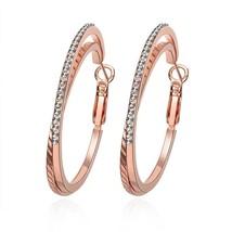18K Rose Gold Filled Delightful Rhinestone Fashion Hoop Earring Jewerly - $10.77