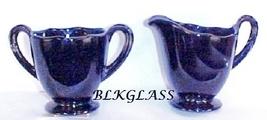 Fostoria Black Glass Mini Creamer And Sugar Set, Fairfax Pattern Individ... - $24.99