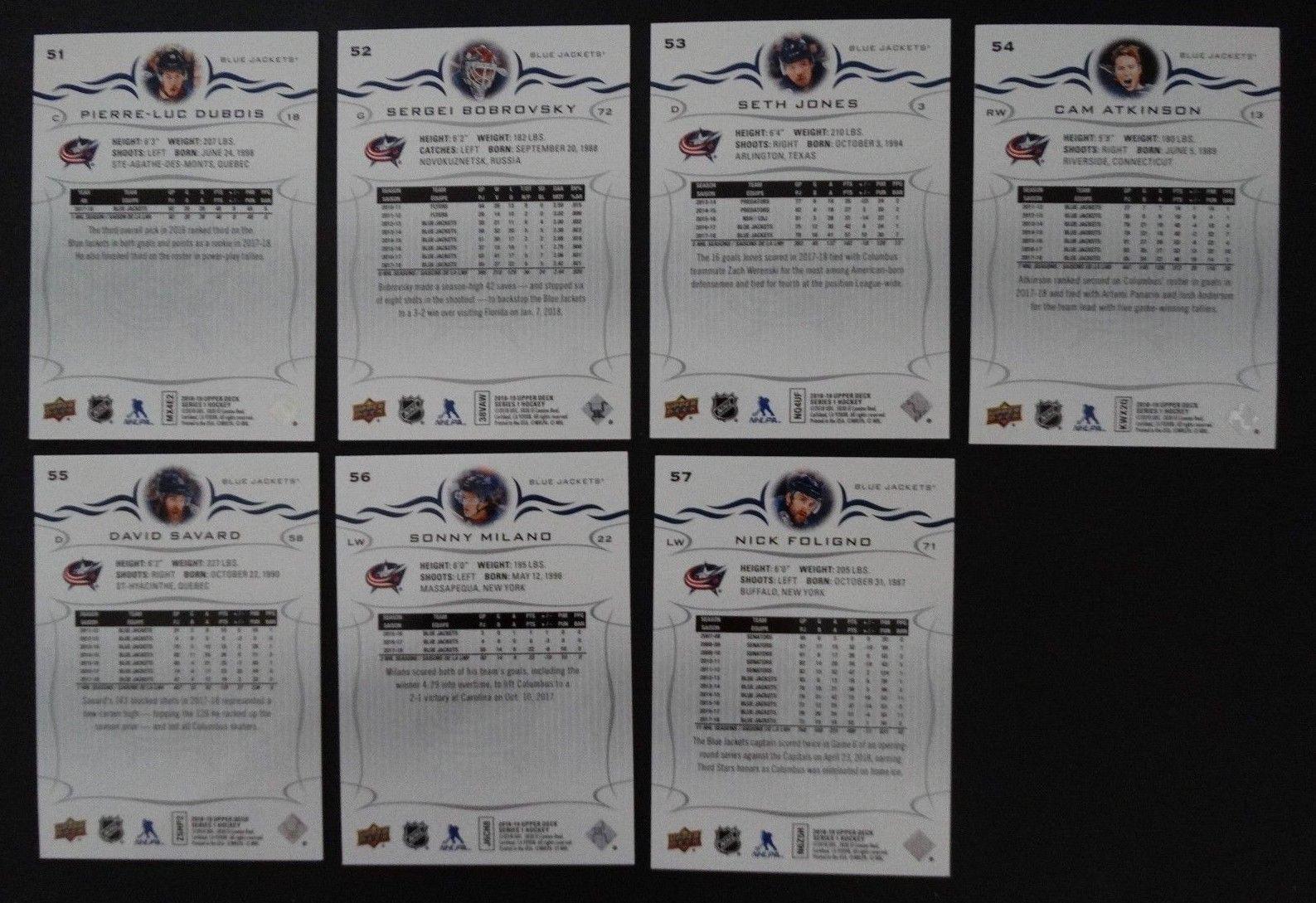 2018-19 Upper Deck UD Columbus Blue Jackets Series 1 Team Set of 7 Hockey Cards