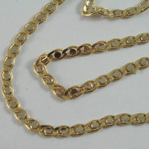 18K YELLOW AND WHITE GOLD CHAIN, EYE FLAT OVAL LINK 3mm NECKLACE MADE IN ITALY image 3