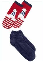 NWT HUE 2-pack Christmas Holiday Polar Bear Footsie No Show Socks in Gift Box