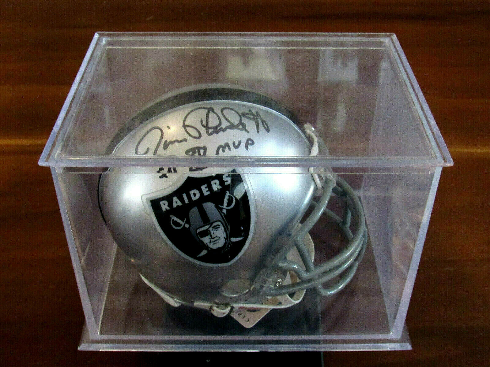 Primary image for JIM PLUNKETT SB XV MVP OAKLAND RAIDERS SIGNED AUTO MINI HELMET STEINER CASE MINT