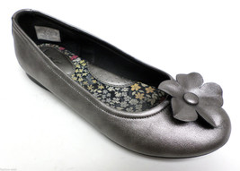 BORN Pewter Leather Flower Ballet Style Flats Shoes Size 5 or 35 - $24.00