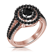 Rose Gold Over VVS1 D/Clear Black Diamond Round Cut Solitaire Engagement Ring - $75.99