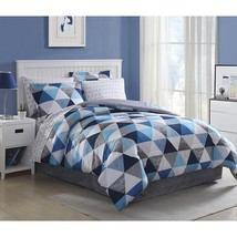 Blue Triangle Comforter Set Blue White Gray Geometric Triangles Fun With... - £25.19 GBP+