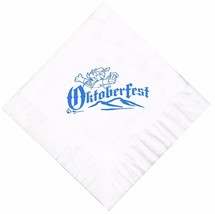 25 Oktoberfest White Luncheon Paper Napkins with a Turquoise Brewmeister logo - $11.87