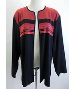 MISOOK Womens Cardigan Jacket Topper Open Front Striped Colorblock Black... - $42.56