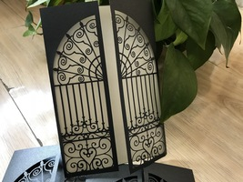 Black Gate Laser Cut Wedding Invitation,50pieces Lace Laser Cut Wedding ... - $53.80