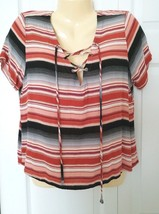 FOREVER 21 Top Size XL Striped Short Sleeve Shirt V-neck Laced-up @ chest - $6.88