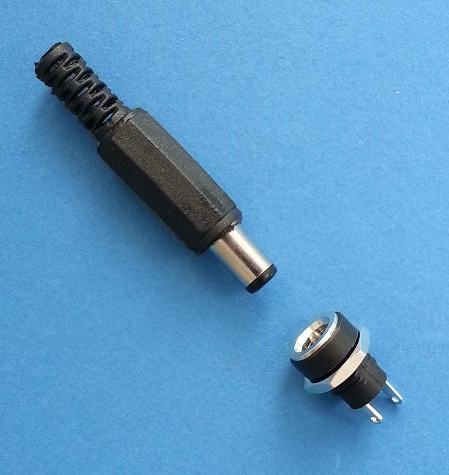 PLUGZ2GO Screw Locking DC Plug /& Metal Panel Mount Socket 2.1MM x 5.5MM
