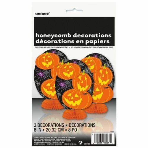 "Halloween Pumpkin 3 ct Mini 8"" Honeycomb Centerpiece Decorations"