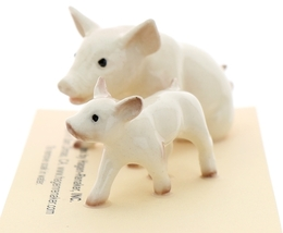Hagen-Renaker Miniature Ceramic Pig Figurine White Mama and Baby Piglet