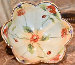 BEAUTIFUL VINTAGE JAPAN HAND PAINTED PORCELAIN POPPY DISH FOOTED GOLD GILT - $29.99
