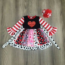 NEW Boutique Glitter Heart Long Sleeve Ruffle Twirl Girls Valentines Dress - $19.99
