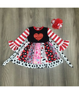 NEW Boutique Glitter Heart Long Sleeve Ruffle Twirl Girls Valentines Dress - $19.99
