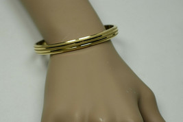 18K Yellow Gold Grooved High Polish & Diamond Etched 16g Bangle Bracelet... - $760.24