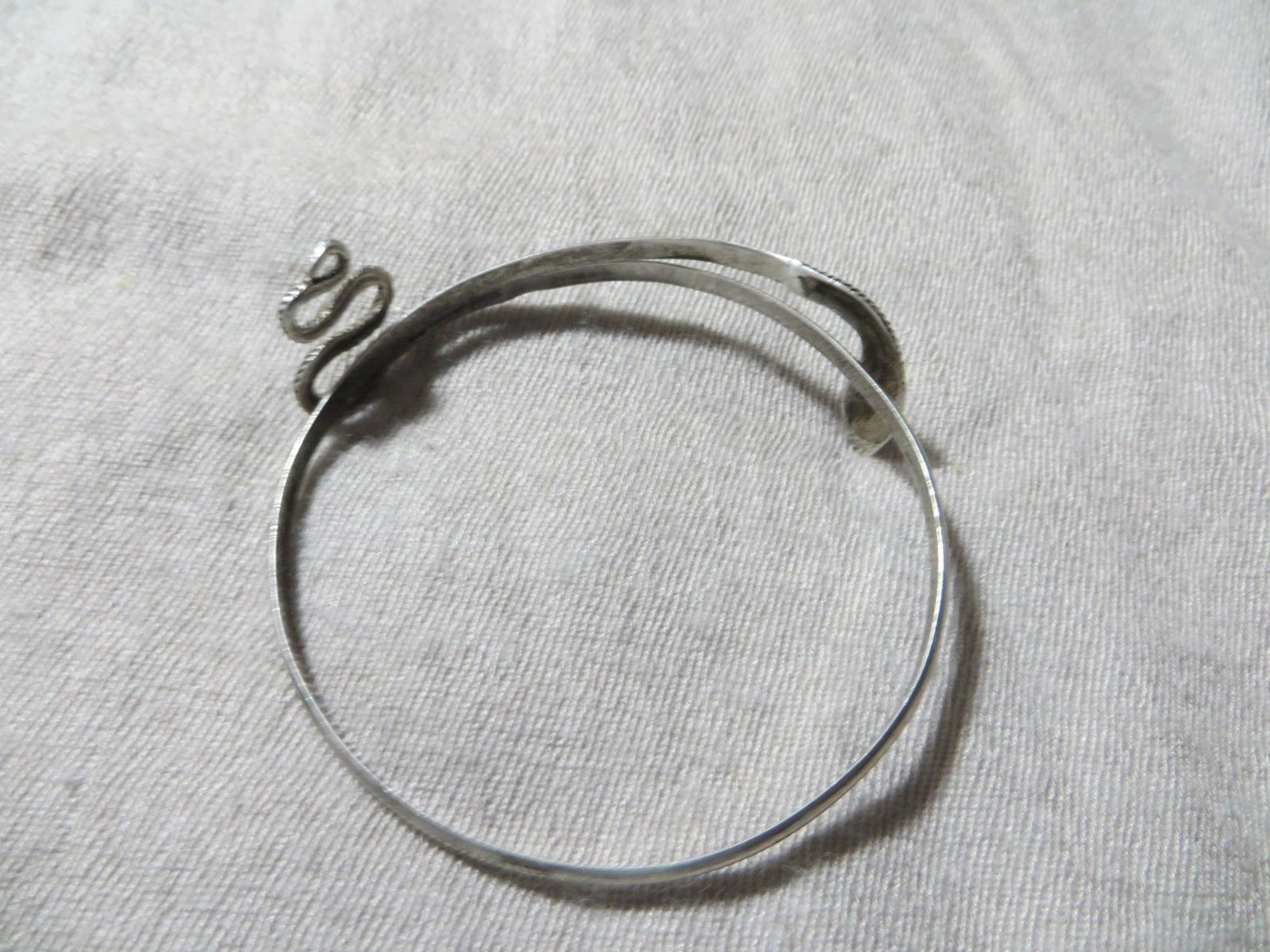 Antique Victorian Sterling Wrap Snake Bangle Bracelet 2.5""
