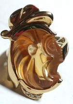 Genuine Diamonds Gemstone Gold Plated Carved Cameo Estate Jewelry Large Ring - $500.00