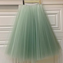 Carrie Bradshaw Tulle Skirt Outfit Plus Size Midi Tulle Green Tutu Holiday Skirt image 2