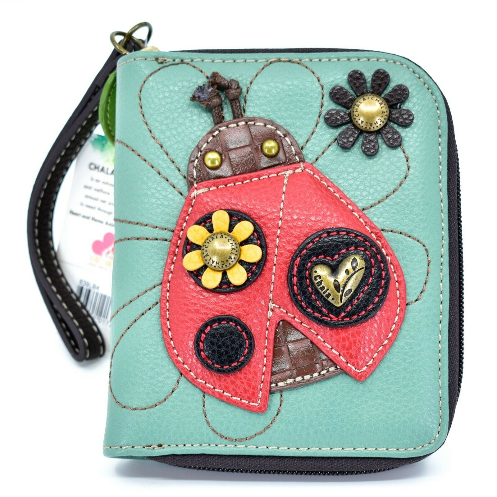 Chala Handbags Faux Leather Whimsical Ladybug Teal Zip Around Wristlet Wallet
